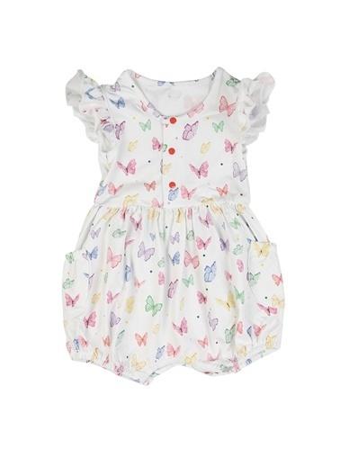 Nila Kids Butterfly Organik Kız Bebek Tulum Beyaz